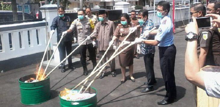 Pemusnahan barbuk narkoba di Majalengka./Foto: Rmol
