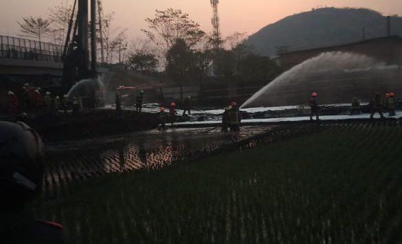 Pipa Pertamina yang meledak atau terbakar di Cimahi sudah padam (ist)