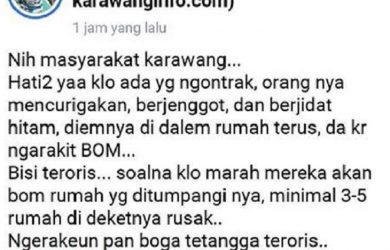 Postingan dugaan ujaran kebencian di Karawang
