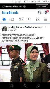 Postingan tentang eks Dandim Kendari Kolonel Hendi yang putra asli Karawang (ist)