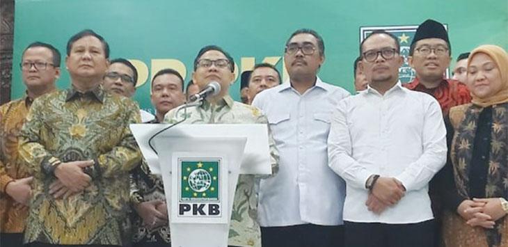 Ketua Umum PKB Muhaimin saat bersama Ketua umum Gerindra Prabowo Subianto dan jajaran petinggi kedua partai itu di kantor DPP PKB, Jalan Raden Saleh, Cikini, Jakarta.