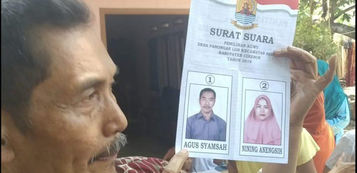 Foto suami istri di surat suara pemilihan kepala desa. Dede