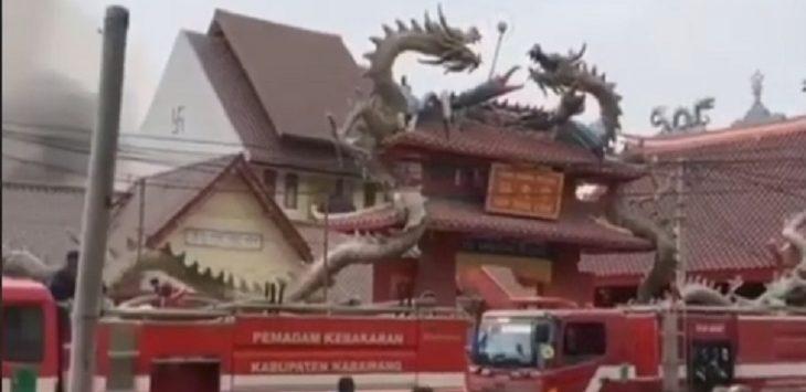 Kebakaran di kawasan Tuparev, Karawang, Kamis (14/11/2019)./Foto: Istimewa