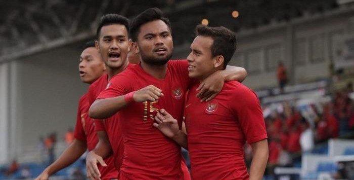 Egy MV saat mencetak gol lawan Thailand di SEA Games 2019. Indonesia lolos ke final setelah mengalahkan Myanmar di semifinal