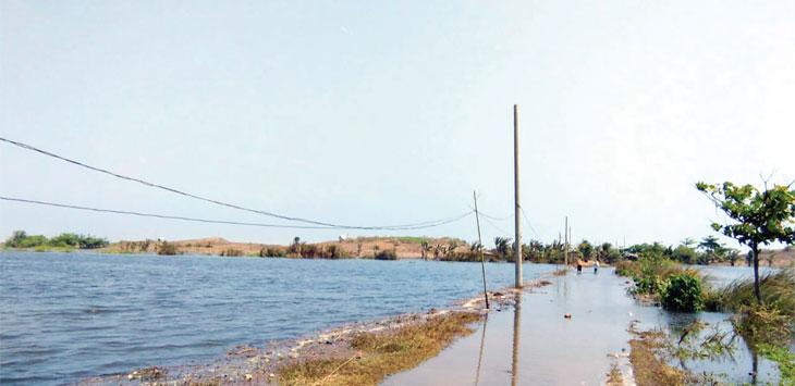 Kondisi banjir di Muara Cibuni, Desa/Kecamatan Tegalbuleud, Kabupaten Sukabumi yang disebabkan oleh pasir laut yang terbawa angin atau disebut bugeul tak hanya merendam ratusan hektare sawah, tapi juga semakin meluas dan mengancam ratusan pemukiman warga.