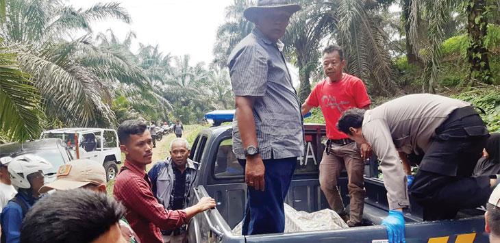 Sejumlah anggota Polsek Cibadak saat melakukan evakuasi jenazah yang ditemukan warga di dalam mobil di Babakan Sirna RT3/13, Desa Warnajati, Kecamatan Cibadak, Kabupaten Sukabumi, kamis (21/11/19).