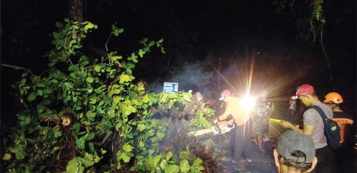 Petugas gabungan saat berupaya mengevakuasi pohon katapang yang menimpa kendaraan bermotor di Jalan Raya Nasional Palabuhanratu - Cisolok, senin (18/11/19).