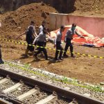 Polres Bogor saat tinjau longsor di Proyek Double Track Bogor-Sukabumi di Cigombong