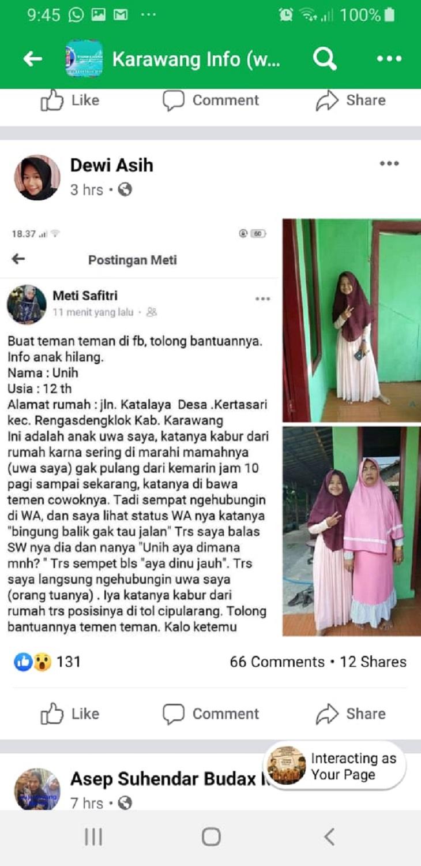 Postingan Unih, gadis Karawang yang hilang