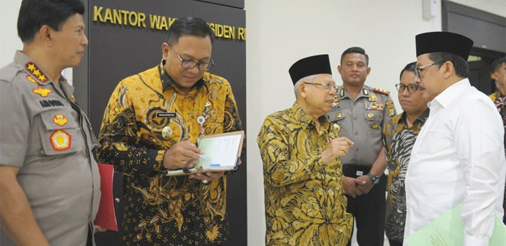 Wakil Walikota Depok, Pradi Supriatna menghadiri rapat membahas perkembangan pembangunan Universitas Islam Internasional Indonesia (UIII), di Kantor Wakil Presiden, Senin (18/11/19). Radar Depok