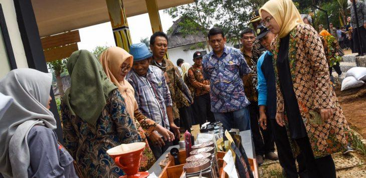 Bupati purwakarta Anne Ratna Mustika, saat meninjau hasil umkm masyarakat purwakarta.