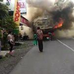 Bus pariwisata terbakar di Kabupaten Ciamis (ist)