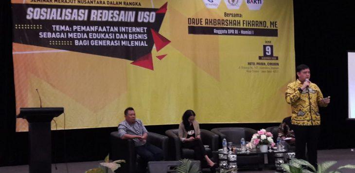 Anggota Komisi I DPR RI, Dave AF Laksono di acara seminar Merajut Nusantara Dalam Rangka Sosialisasi Redesain USO. dede