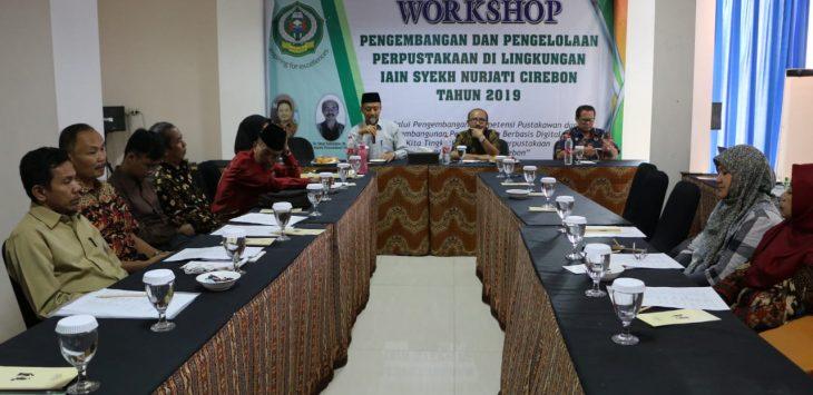 Perpustakaan IAIN Syekh Nurjati Cirebon saat menggelar workshop Pengembangan dan Pengelolaan Perpustakaan di Lingkungan IAIN Syekh Nurjati Cirebon Tahun 2019. alwi