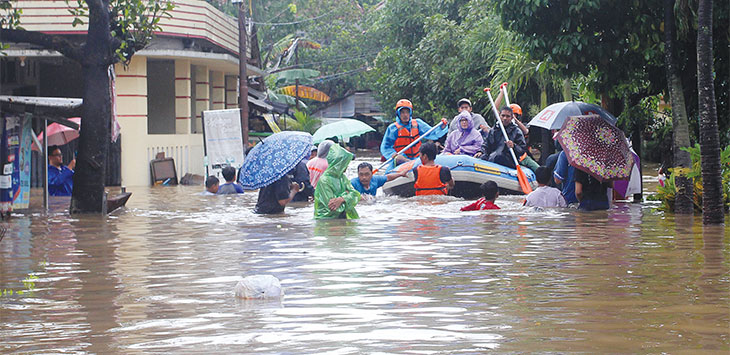 Banjir merendam pemukiman warga di Komplek Marinir, Kelurahan Rangkapan Jaya Baru, Kecamatan Pancoranmas, Rabu (1/1/2020). Dok