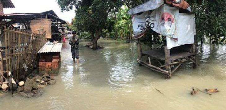 BANJIR KIRIMAN: Banjir kiriman akibat meluapnya Sungai Babadan-Gesik./Foto: RC
