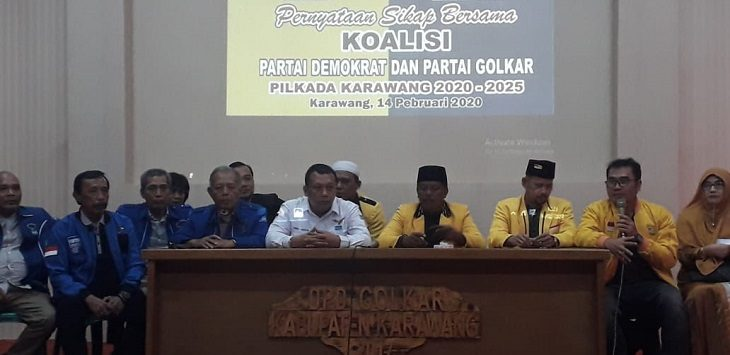 Prescon DPC Demokrat Karawang, Jumat (14/2/2020)./Foto: Ega