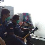 Penyemprotan desinfektan di jalan protokol Kota Bogor sambut HJB (adi)