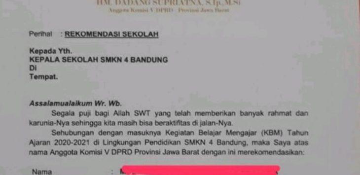 Surat rekomendasi masuk sekolah negeri yang dibuat anggota DPRD Jabar (ist)