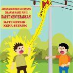 Bermain layangan bisa membahayakan jaringan listrik PLN (ist)