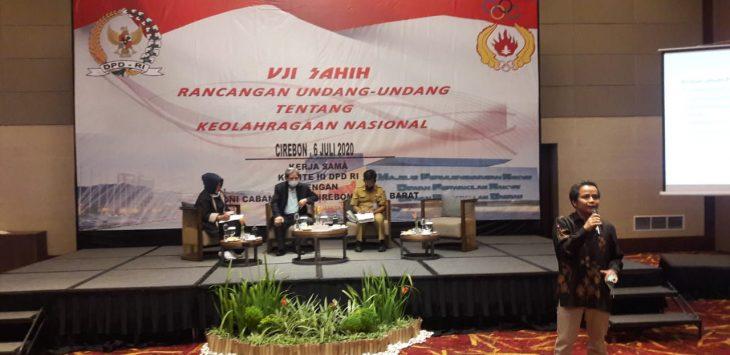 Komite Olahraga Nasional Indonesia (KONI) Kota Cirebon bersama Komite III DPD RI  menyelenggarakan uji sahih. Dede