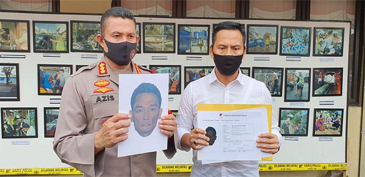 Kapolres Metro Depok, Kombes Pol Azis Andriansyah menunjukan sketsa wajah pelaku penculikan terhadap delapan anak di Kota Depok, Kamis (2/7/2020).