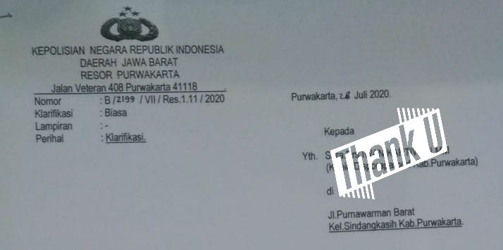 Surat panggilan di pihak kepolisian kepada salah satu pejabat setingkat esselon III untuk dimintai klarifikasi.