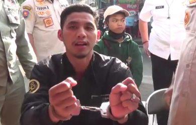 Satpol PP Kabupaten Bogor borgol tangan warga tak pakai masker (ist)