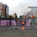 HMI MPO bakar ban di depan Istana Bogor (adi)