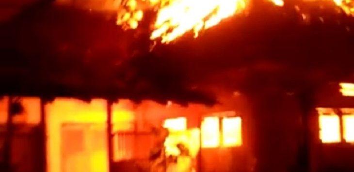 Kebakaran di di Dusun Ancol Dua, Ciamis, Rabu (11/11/2020)./Foto: RT