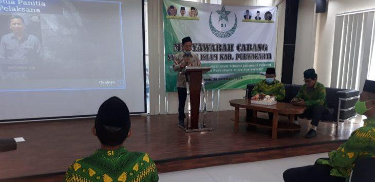Syarif Hidayat Plt Ketua Cabang SI Kabupaten Purwakarta, dalam sambutan sebelum pelantikan ketua Cabang SI Purwakarta.