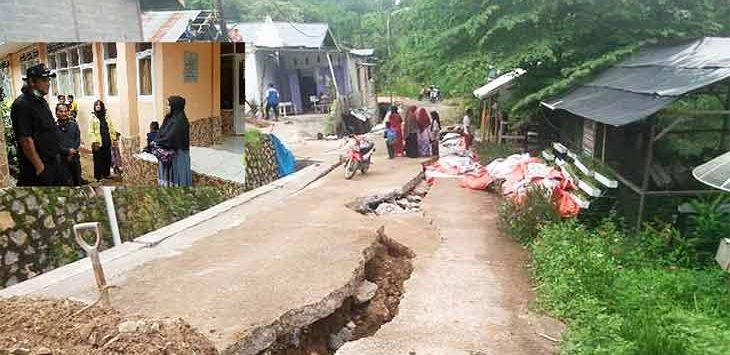 Kondisi Bencana pergerakan tanah yang merusak puluhan rumah penduduk di Kedusunan Suradita, Desa Ciengang, Kecamatan Gegerbitung.