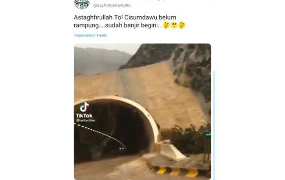 Tangkapan layar hoaks video Terowongan Tol Cisumdawu