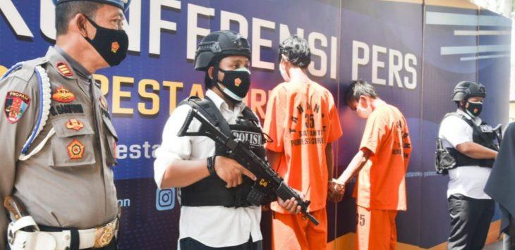 Satuan Reserse Kriminal (Satreskrim) Polresta Cirebon Polda Jabar mengamankan tiga tersangka pencabulan. Foto/Arif