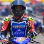 Riky Ibrahim sebelum memulai balapan di Cimahi.