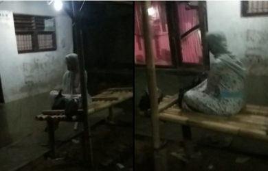 Penampakan perempuan yang disebut 7 hari meninggal terlihat duduk di bale bambu
