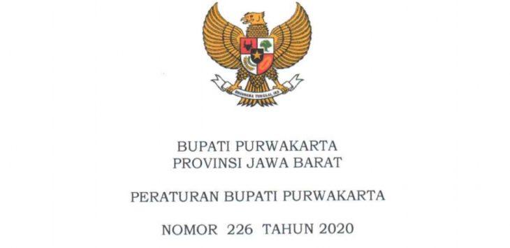 Halaman depan lembaran Peraturan Bupati Nomor 226 Tahun 2020.