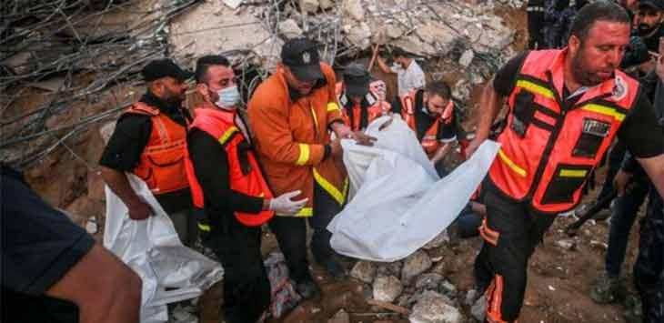 Evakuasi warga Pelestina yang tewas akibat serangan Israel di Jalur Gaza. Foto Al Jazeera