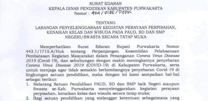 Surat edaran larangan kegiatan perayaan kelulusan dari dinas pendidikan.