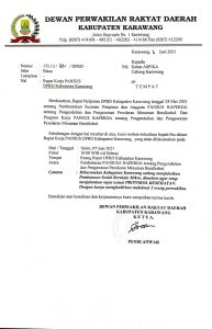 Surat undangan Pansus Raperda Miras