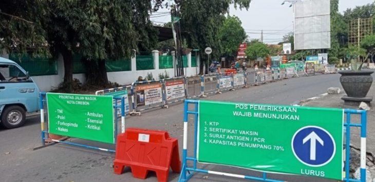 Lokasi penyekatan akses masuk Kota Cirebon di Jalan Slamet Riyadi./Foto: RC