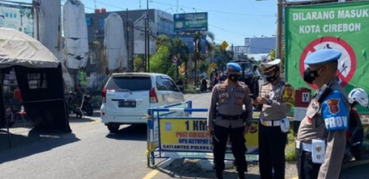 Penyekatan menuju Kota Cirebon di Jalan Tuparev./Foto: RC